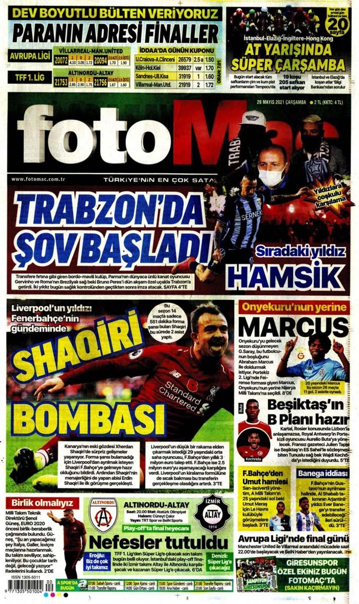 26 Mayıs 2021 Çarşamba günün spor manşetleri   Fenerbahçe, Galatasaray, Beşiktaş ve Trabzonspor'dan transfer haberler 3