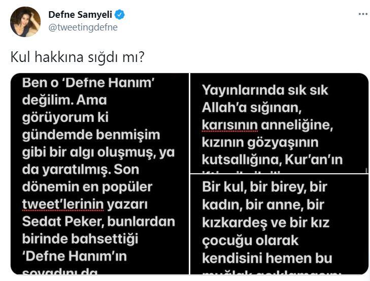 Dikkat çeken paylaşım! Sedat Peker, Defne Samyeli'den özür diledi 4