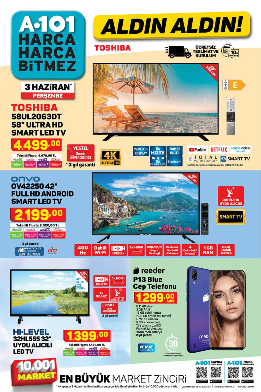 "9 Haziran A101 aktüel ürünler kataloğu   Toshiba 58UL2063DT 58"" Ultra HD Smart Led TV A101'de! 2"