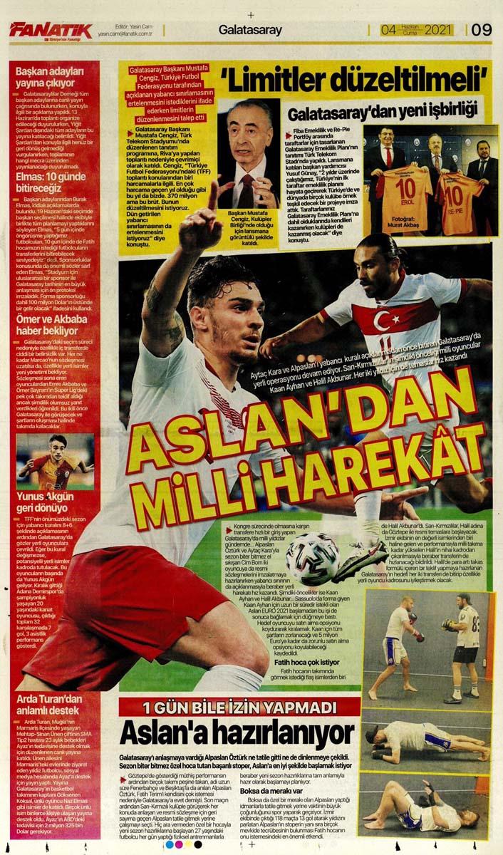 Gazetelerin spor manşetleri (4 Haziran 2021) Fenerbahçe, Galatasaray, Beşiktaş ve Trabzonspor'dan haberler 11