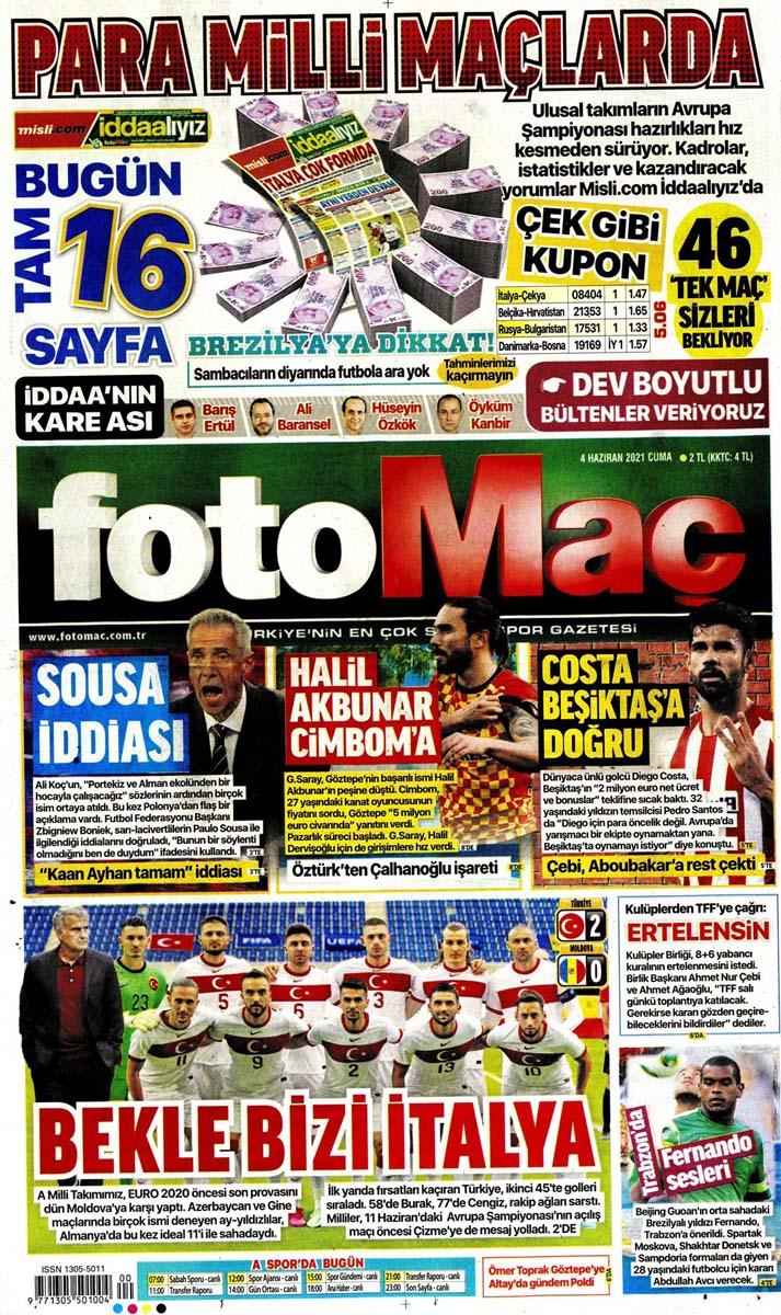 Gazetelerin spor manşetleri (4 Haziran 2021) Fenerbahçe, Galatasaray, Beşiktaş ve Trabzonspor'dan haberler 12