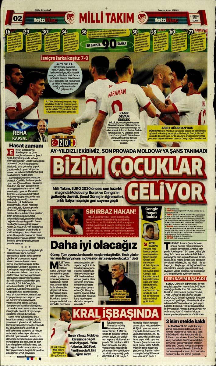 Gazetelerin spor manşetleri (4 Haziran 2021) Fenerbahçe, Galatasaray, Beşiktaş ve Trabzonspor'dan haberler 13