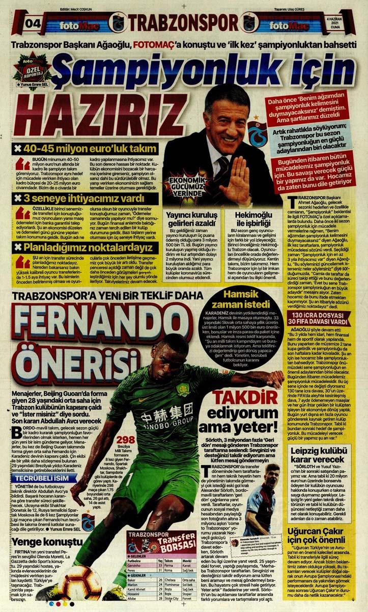 Gazetelerin spor manşetleri (4 Haziran 2021) Fenerbahçe, Galatasaray, Beşiktaş ve Trabzonspor'dan haberler 14