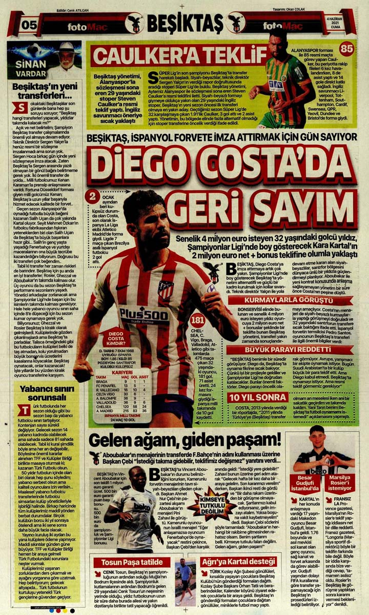 Gazetelerin spor manşetleri (4 Haziran 2021) Fenerbahçe, Galatasaray, Beşiktaş ve Trabzonspor'dan haberler 16