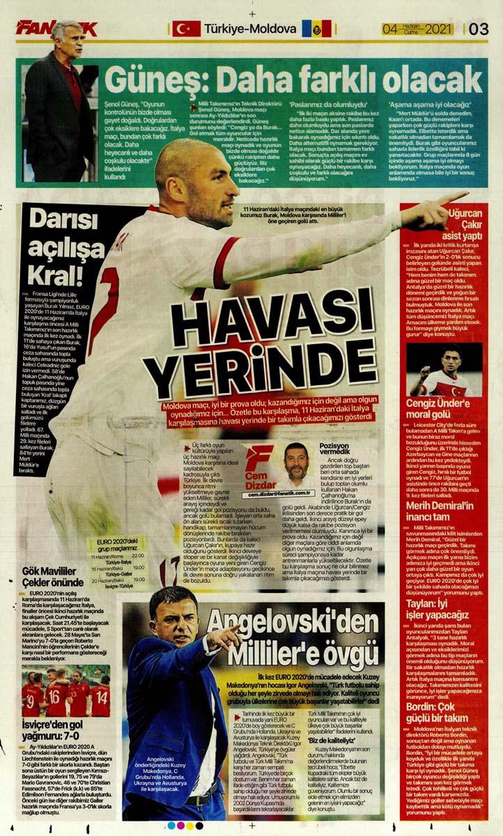 Gazetelerin spor manşetleri (4 Haziran 2021) Fenerbahçe, Galatasaray, Beşiktaş ve Trabzonspor'dan haberler 2
