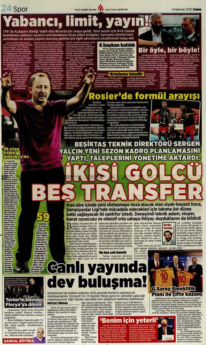 Gazetelerin spor manşetleri (4 Haziran 2021) Fenerbahçe, Galatasaray, Beşiktaş ve Trabzonspor'dan haberler 20