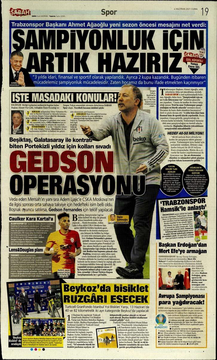 Gazetelerin spor manşetleri (4 Haziran 2021) Fenerbahçe, Galatasaray, Beşiktaş ve Trabzonspor'dan haberler 23