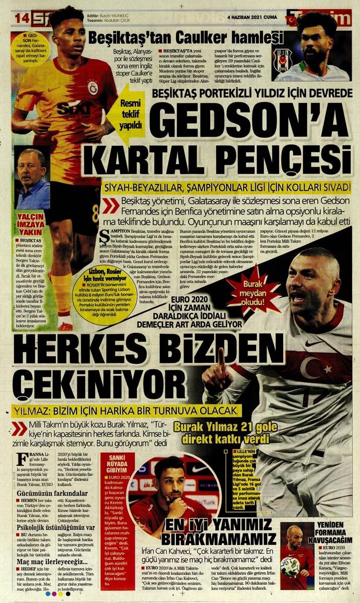 Gazetelerin spor manşetleri (4 Haziran 2021) Fenerbahçe, Galatasaray, Beşiktaş ve Trabzonspor'dan haberler 27