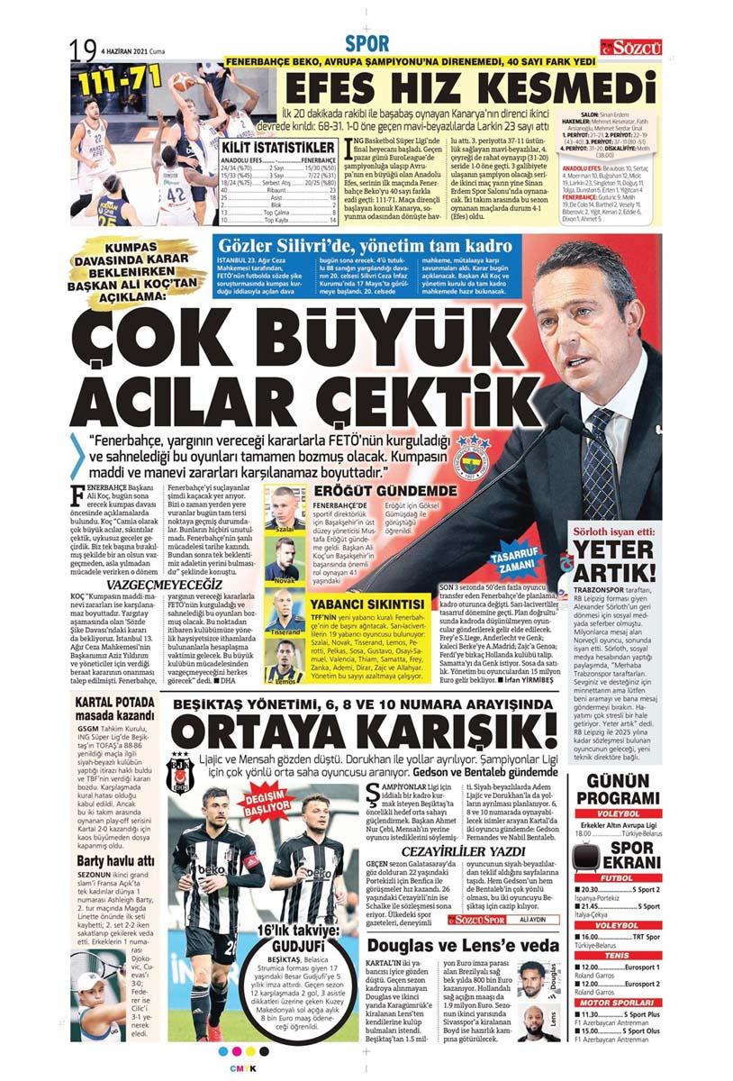 Gazetelerin spor manşetleri (4 Haziran 2021) Fenerbahçe, Galatasaray, Beşiktaş ve Trabzonspor'dan haberler 29