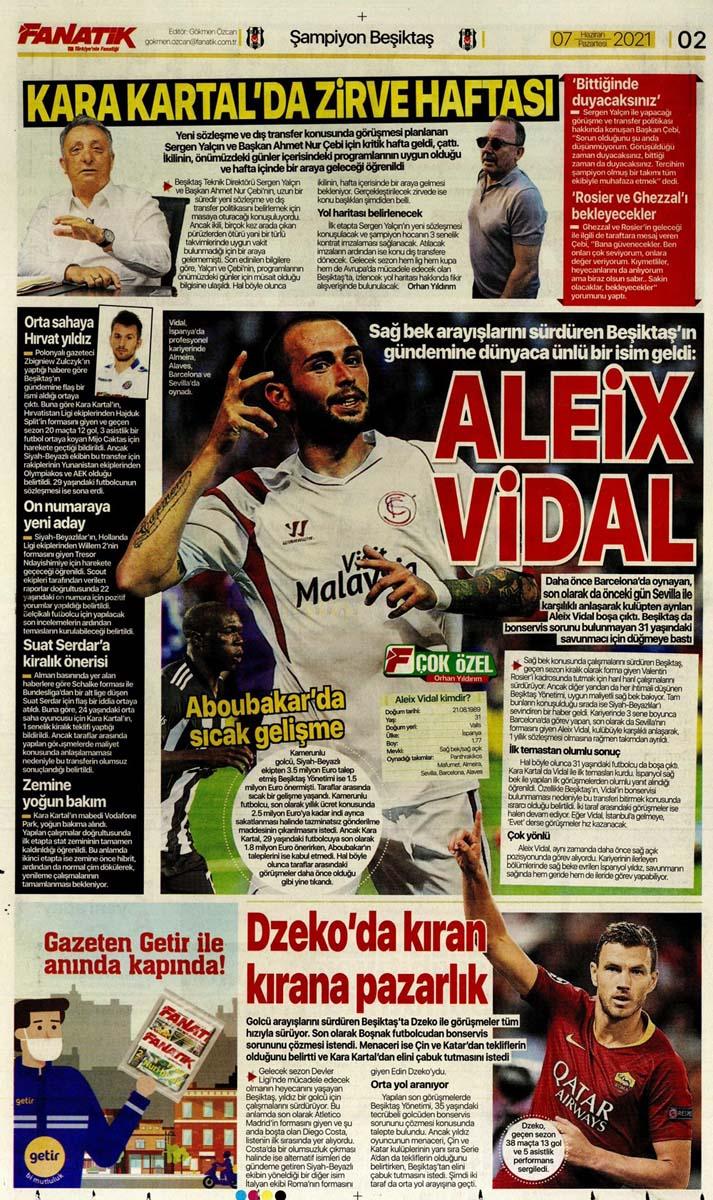 Bugünün spor manşetleri ( 7 Haziran 2021 spor gazetesi manşetleri) | Transfer haberleri 1