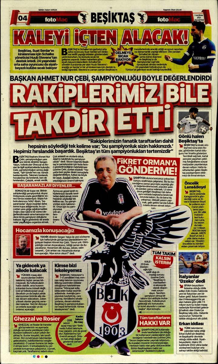 Bugünün spor manşetleri ( 7 Haziran 2021 spor gazetesi manşetleri)   Transfer haberleri 12