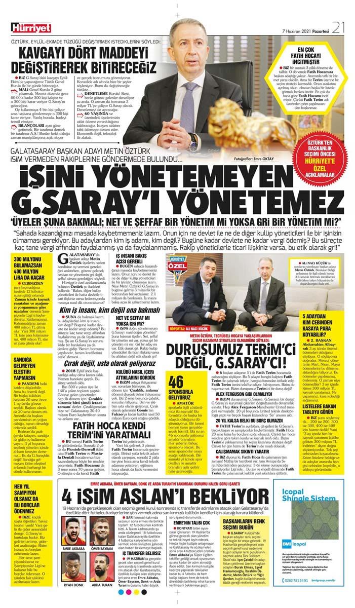 Bugünün spor manşetleri ( 7 Haziran 2021 spor gazetesi manşetleri) | Transfer haberleri 19