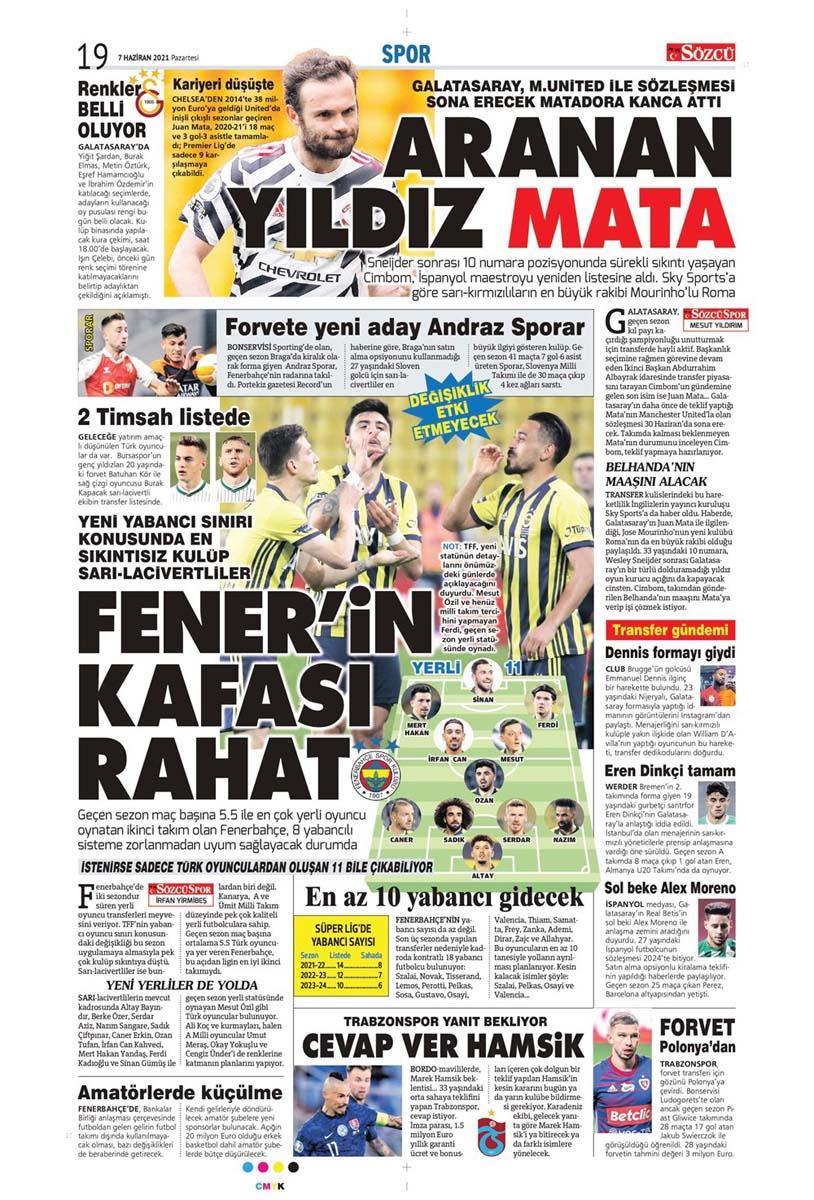 Bugünün spor manşetleri ( 7 Haziran 2021 spor gazetesi manşetleri) | Transfer haberleri 25
