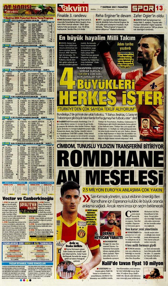 Bugünün spor manşetleri ( 7 Haziran 2021 spor gazetesi manşetleri)   Transfer haberleri 26