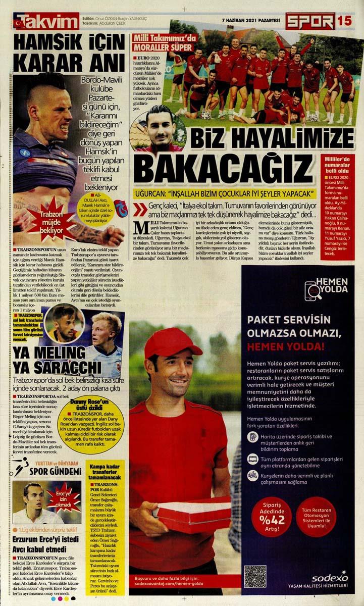 Bugünün spor manşetleri ( 7 Haziran 2021 spor gazetesi manşetleri) | Transfer haberleri 27