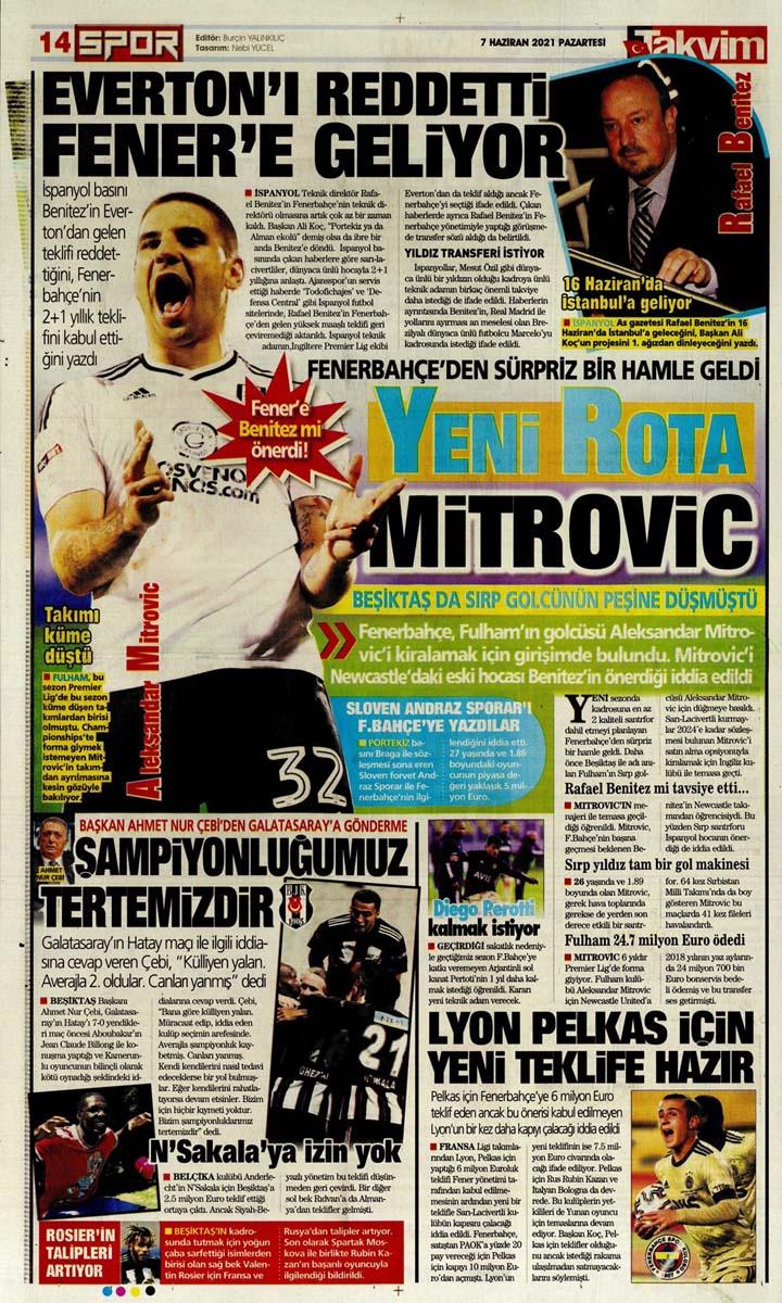 Bugünün spor manşetleri ( 7 Haziran 2021 spor gazetesi manşetleri) | Transfer haberleri 28