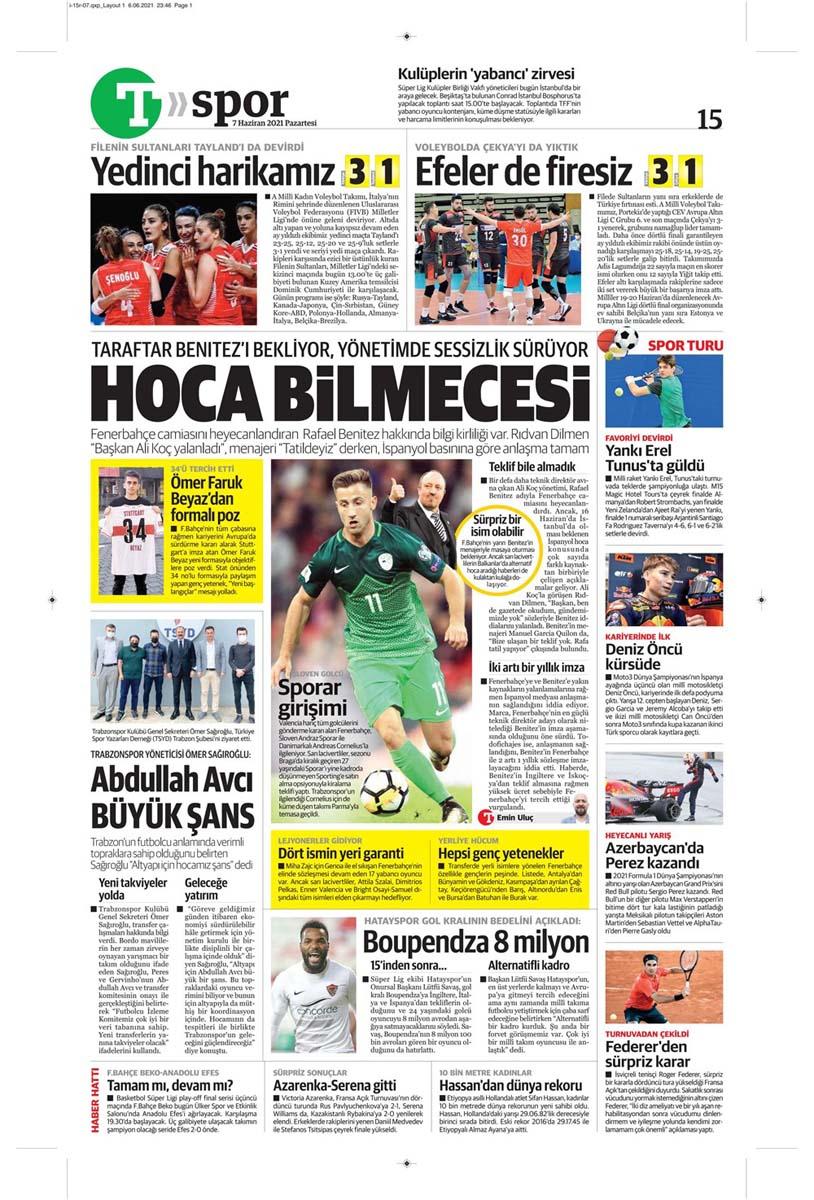 Bugünün spor manşetleri ( 7 Haziran 2021 spor gazetesi manşetleri) | Transfer haberleri 30