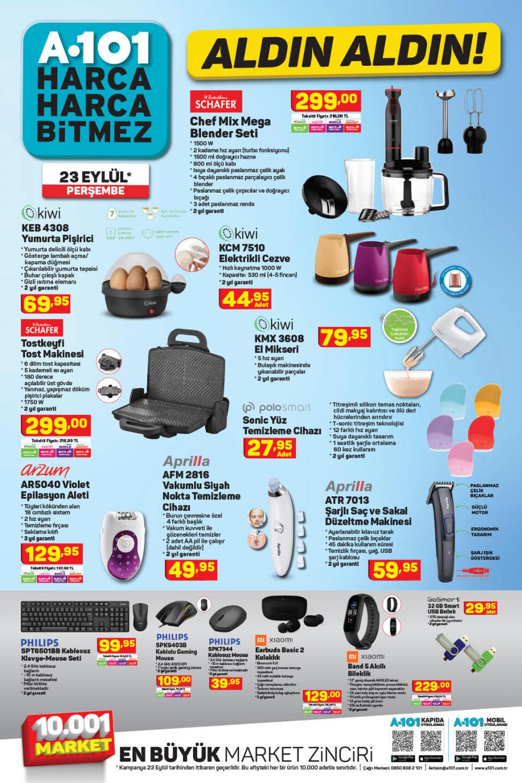 24 Eylül A101 kataloğu | Büyük ve küçük teknolojik ve ev aletlerinden, beyaz eşyalara, spor malzemelerinden en uygun fiyatlar A101'de! 1