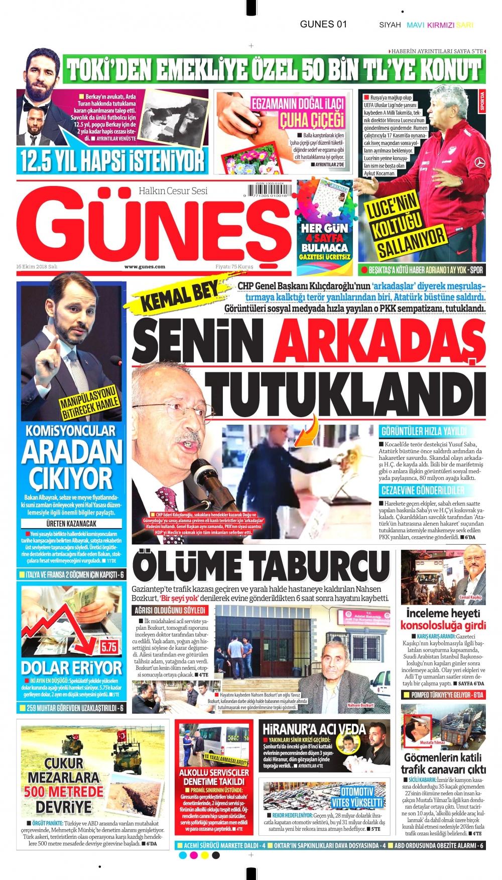Gazeteler bugün ne yazdı? |16 Ekim 2018 gazete manşetleri foto galerisi 1.  resim