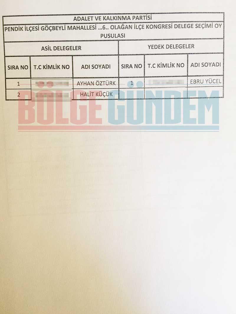 2017 Ak Parti Pendik Mahalle Mahalle delege listesi 18