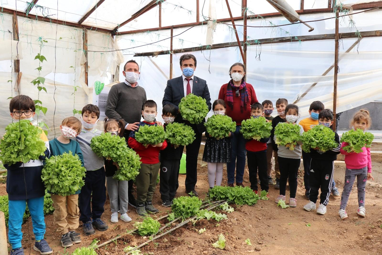 Antalya'da öğrenciler serada yetiştirdikleri organik sebzelerin hasadını yaptı
