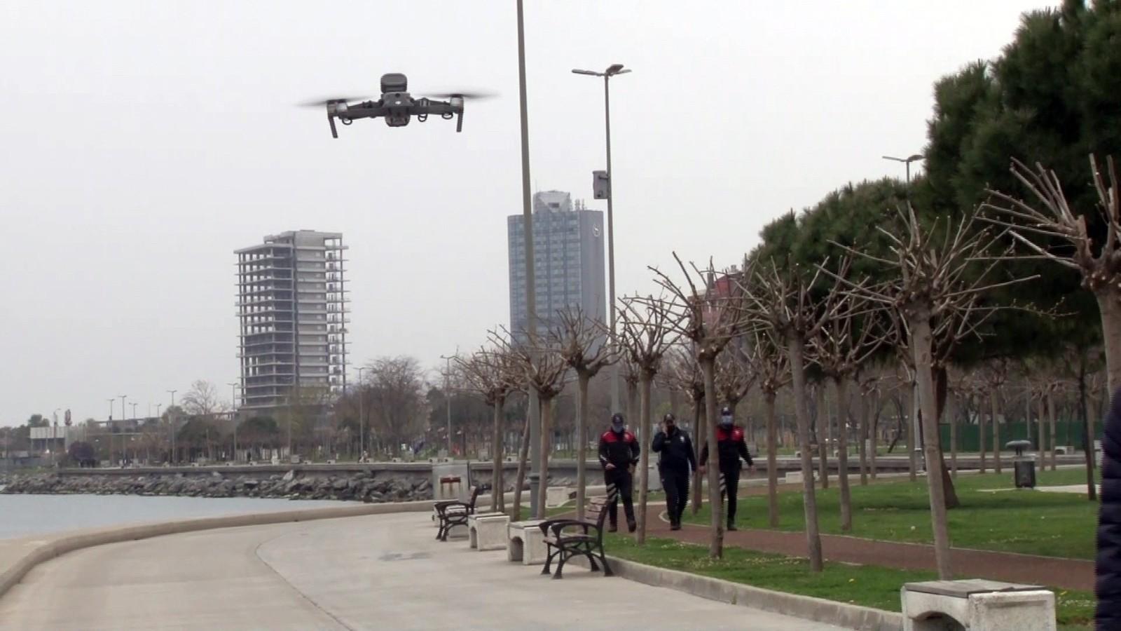 Kısıtlamayı ihlal edenler anında tespit edildi, Bakırköy'de dronlu korona denetimi