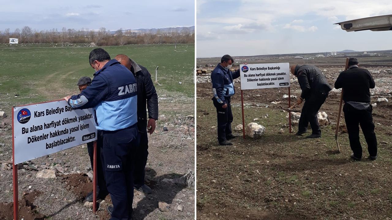 Çevreyi kirletenlere izin yok! Kars'ta gelişi güzel hafriyat dökenlere ceza kesilecek