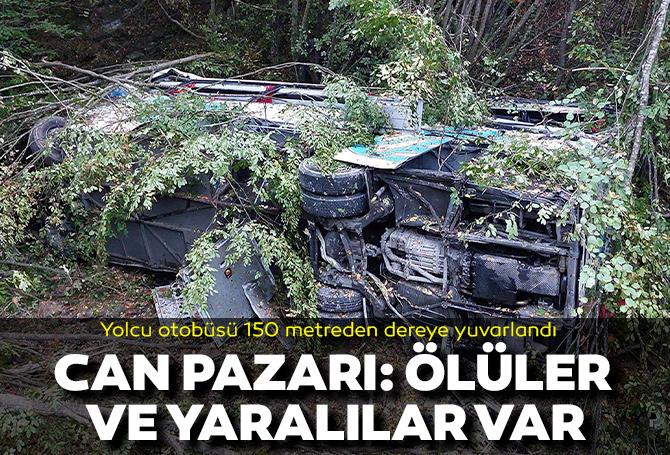 Samsun'da can pazarı! Yolcu otobüsü 150 metre yükseklikten dereye yuvarlandı: Ölü ve yaralılar var