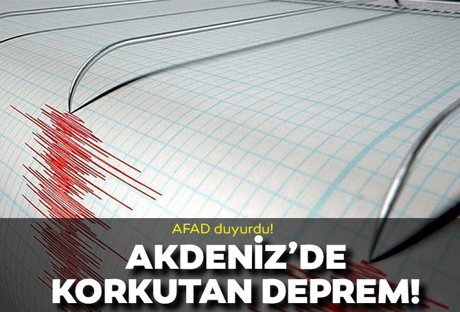 Son dakika! AFAD duyurdu! Akdeniz'de 3.7 büyüklüğünde deprem!