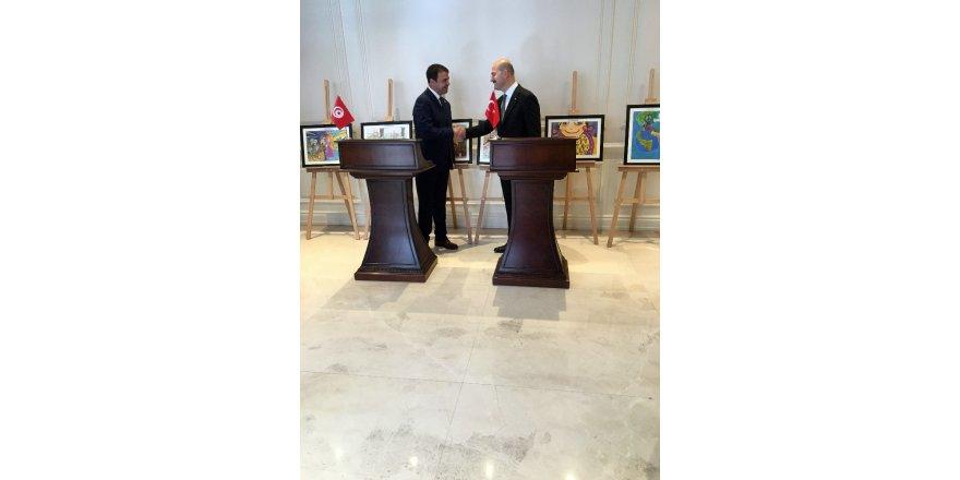 İçişleri Bakanı Soylu, Tunus İçişleri Bakanı Majdoub ile bir araya geldi
