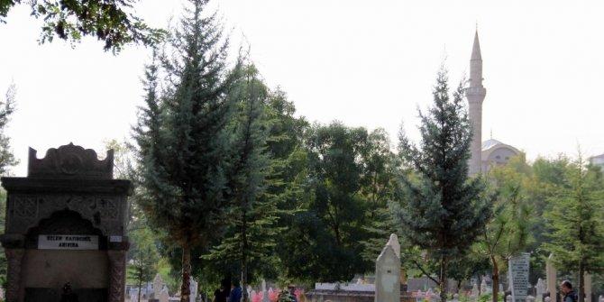 Mezarlıkta kendini ağaca astı