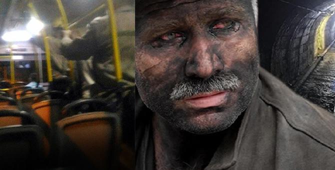 Maden işçileri koltuklar kirlenmesin diye ayakta yolculuk etti