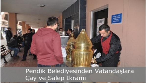 Pendik Belediyesinden Vatandaşlara Çay ve Salep İkramı