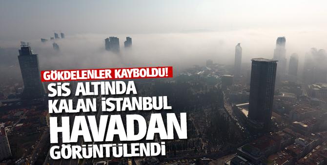 Sis altında kalan İstanbul'da gökdelenler kayboldu!