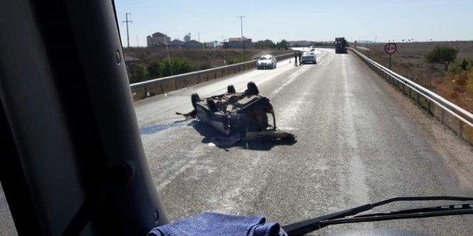 Seyir halindeyken araç devrildi, 1 kişi yaralandı