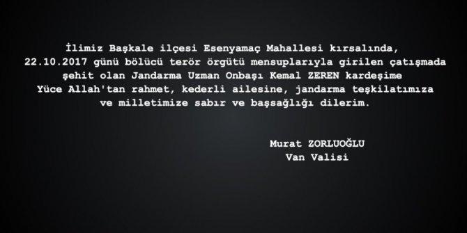 Vali Zorluoğlu, şehit Zeren için taziye mesajı yayınladı