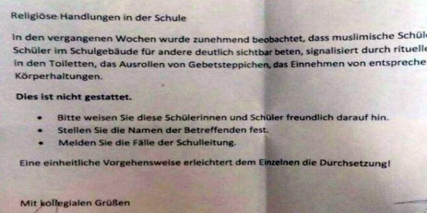 Alman lisesinde namaz kılmak yasaklandı