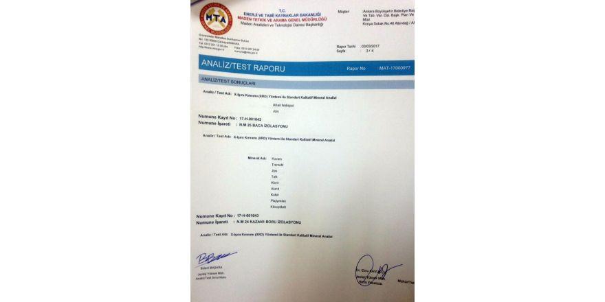 Asbest iddialarına MTA raporu