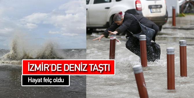 İzmir'de Deniz Taştı Yollar Göle Döndü