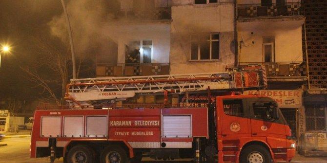 Karaman'da çıkan yangında dumandan etkilenen bir kişi hastaneye kaldırıldı