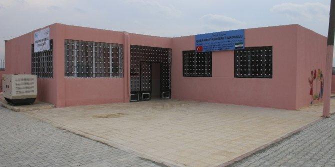 Türkiye'nin desteği ile restore edilen Çobanbey Kersenli İlkokulu eğitime açıldı