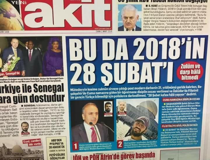 28 Şubat Akit Gazetesi manşet haberi!