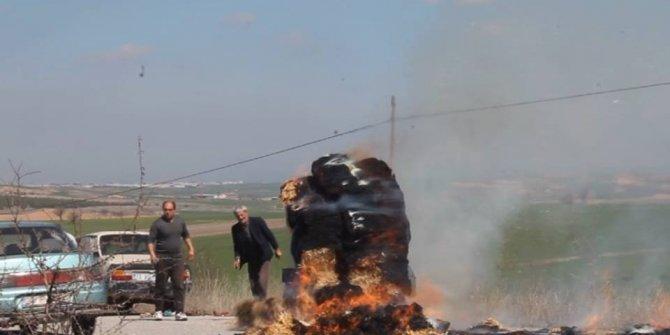 Uşak'ta trajikomik yangın mücadelesi