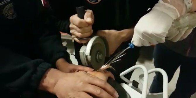 Çocuğun parmağına sıkışan yüzük AFAD tarafından çıkarıldı