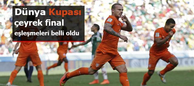 2014 Dünya Kupası çeyrek final eşleşmeleri belli oldu