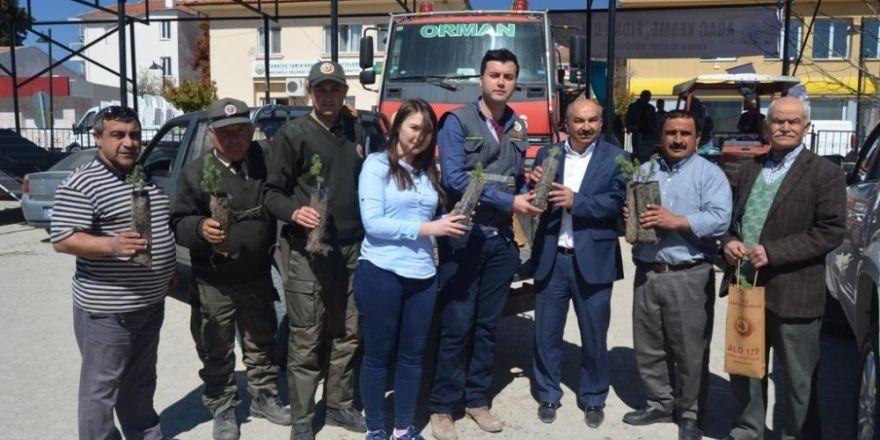 Selendi'de 5 bin orman fidanı dağıtıldı