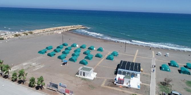 Kocahasanlı Halk Plajı aile kamp alanı vatandaşların uğrak adresi oldu