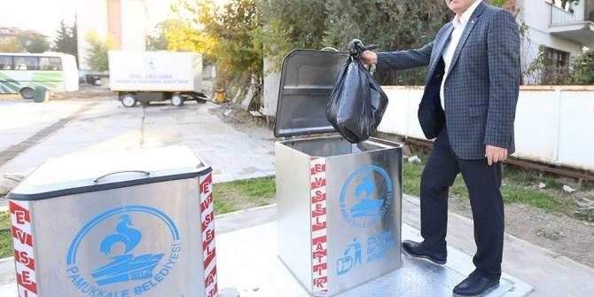 Pamukkale'de yer altı çöp konteyner projesi devam ediyor