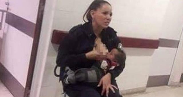 Arjantin'de polis memuru açlıktan ağlayan bebeği emzirdi