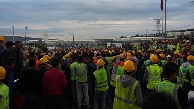 İşçiler iş bırakma eylemi yaptı! Jandarma müdahale etti